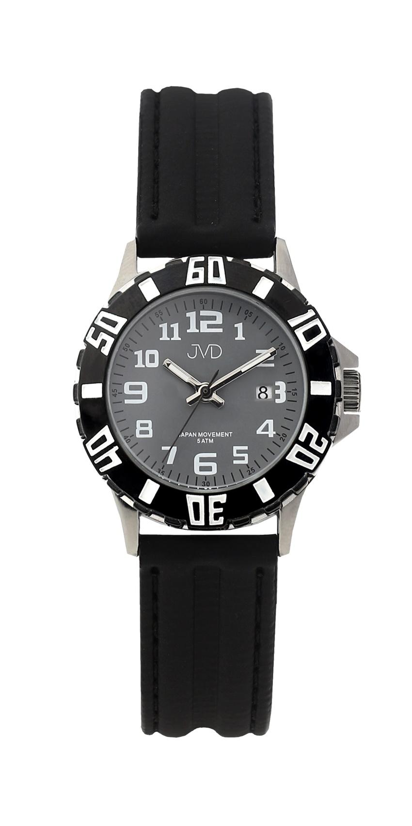 Černé chlapecké vodoodolné dětské náramkové hodinky JVD J7176.4