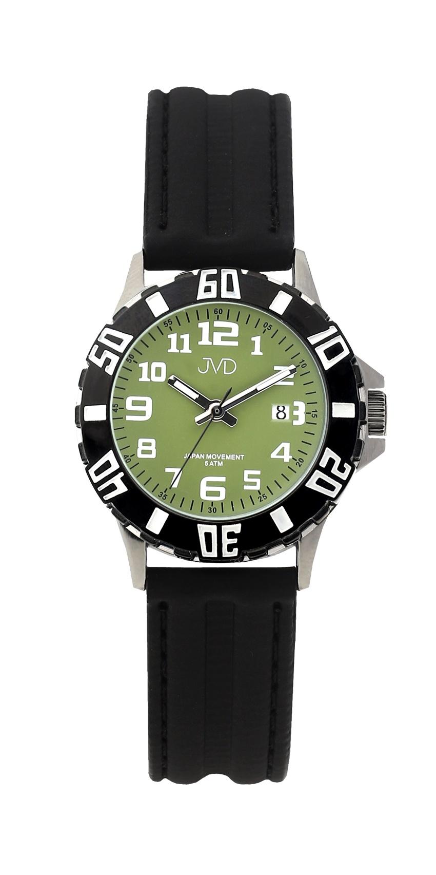 Černé chlapecké vodoodolné dětské náramkové hodinky JVD J7176.5 (zelený číselník)