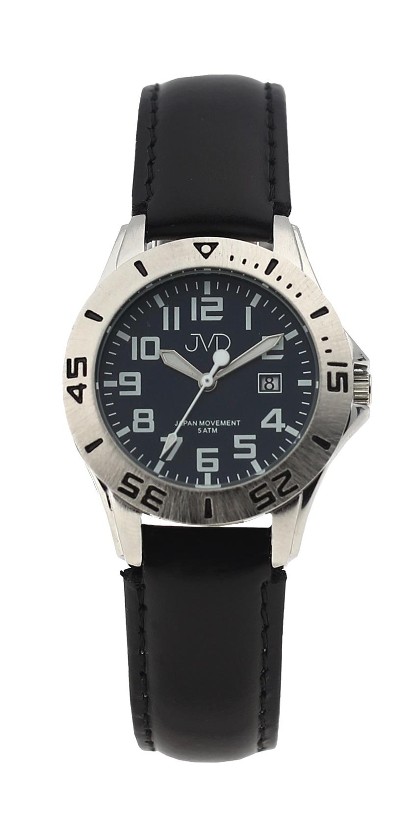 Černé chlapecké vodoodolné dětské náramkové hodinky JVD J7177.3 (5ATM - voděodolnost)