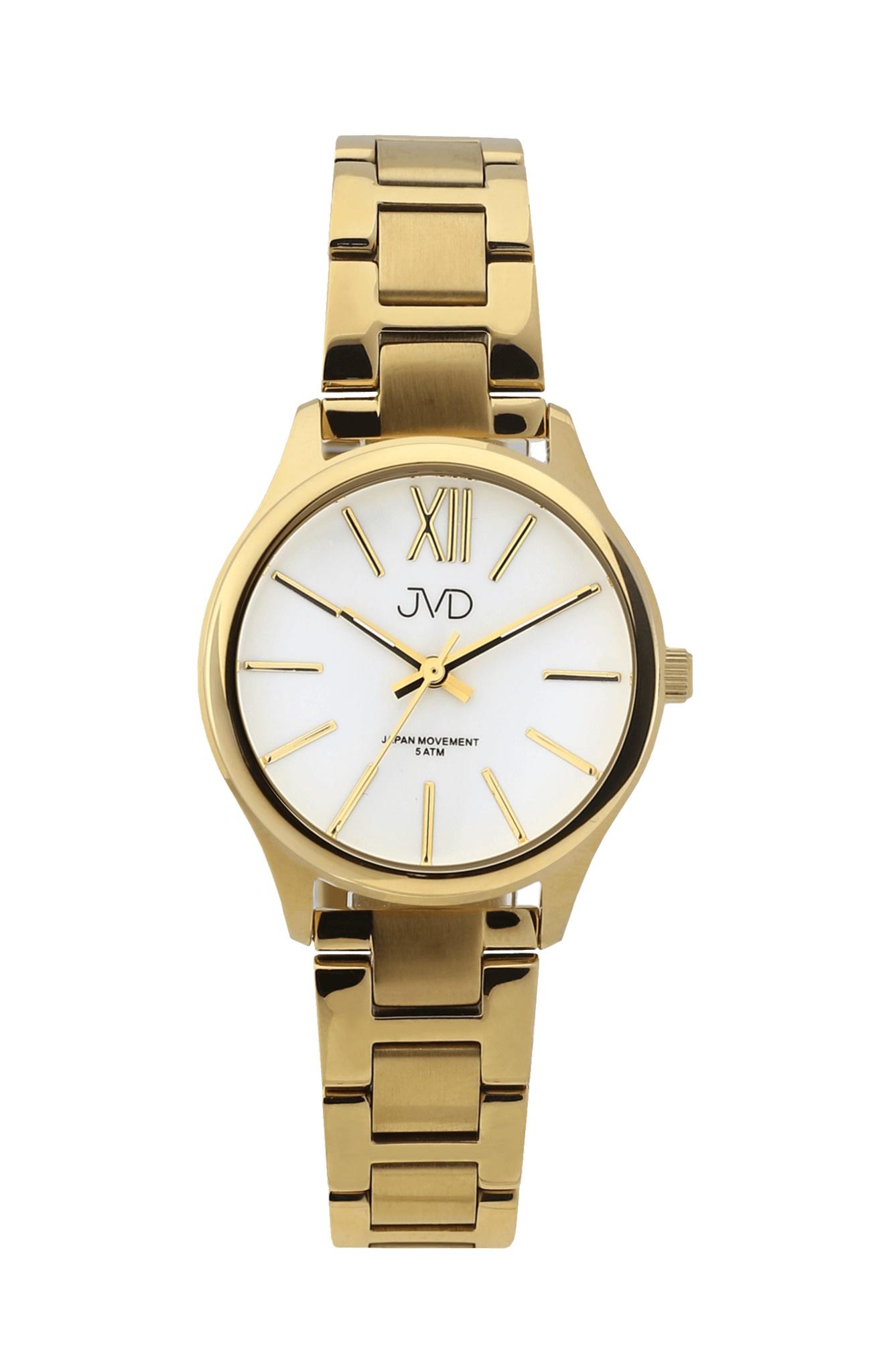 Dámské elegantní ocelové hodinky JVD J4152.2 (POŠTOVNÉ ZDARMA!! - vodotěsnost 5ATM, celozlacené)