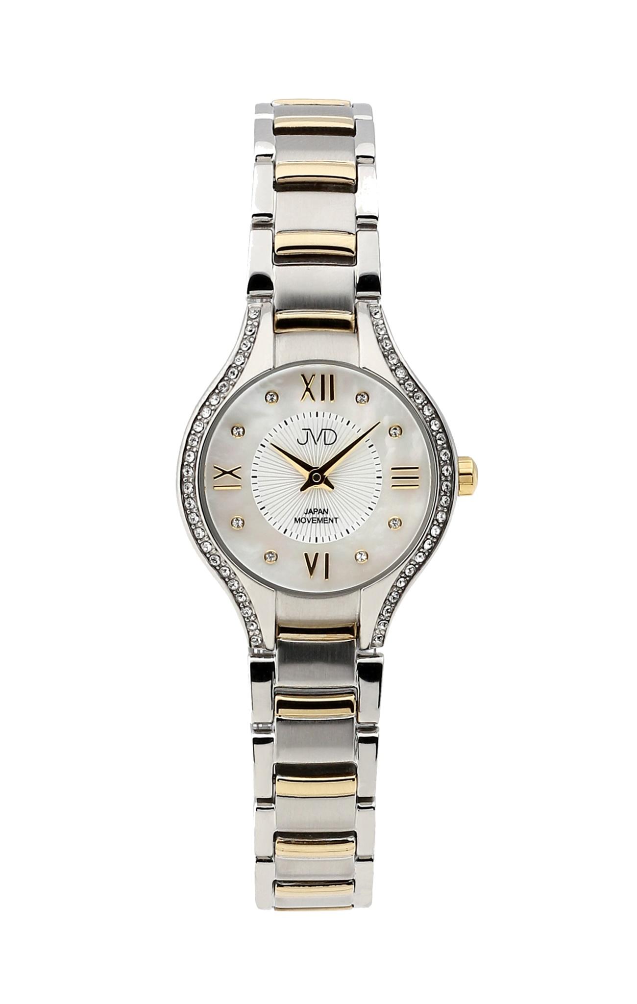 Dámské ocelové zlacené moderní hodinky JVD JC118.3 se zirkony (POŠTOVNÉ ZDARMA!! - vodotěsnost 5ATM)