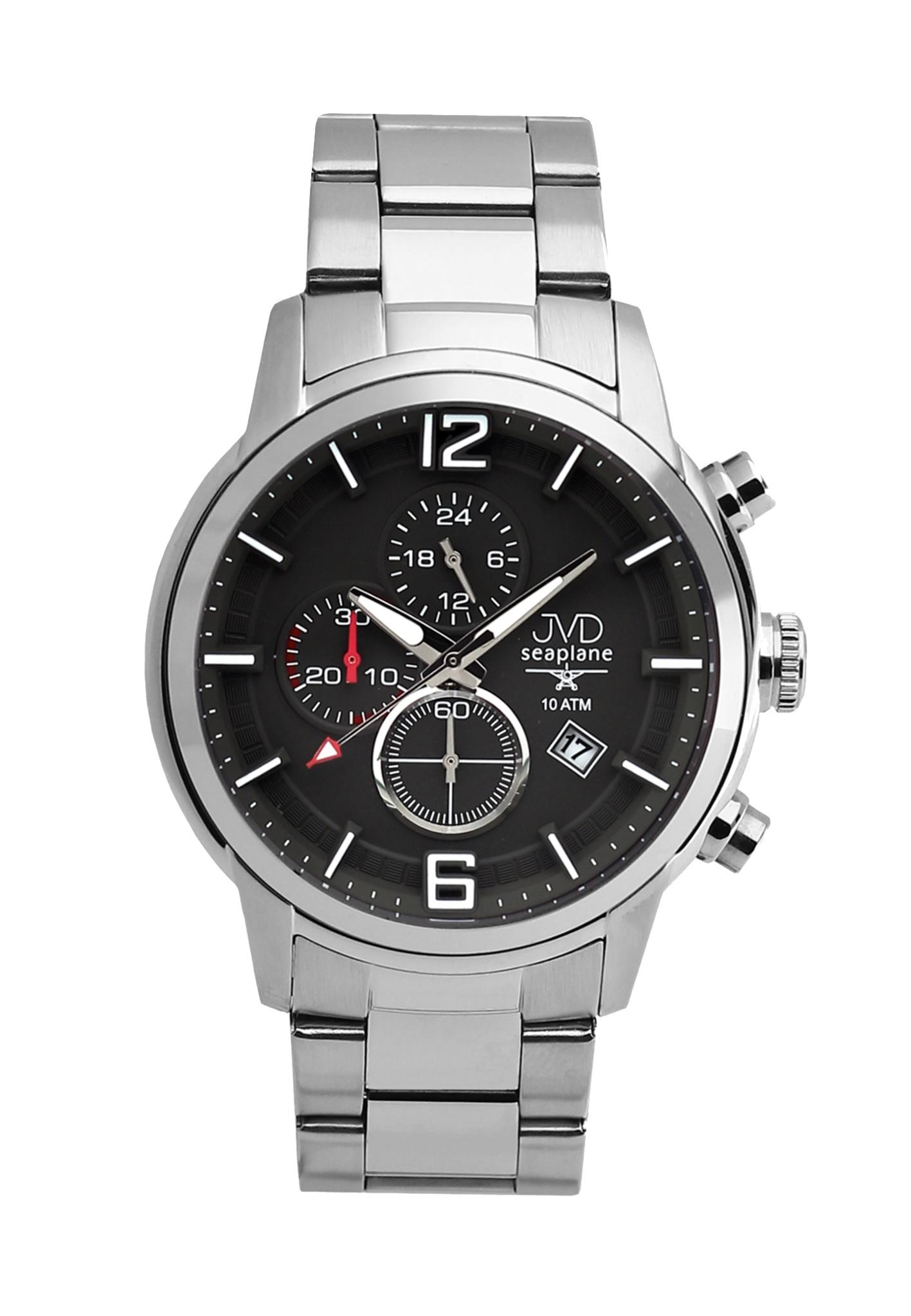 Vysoce odolné černé vodotěsné chronografy hodinky JVD Seaplane METEOR JC667.4 (POŠTOVNÉ ZDARMA!!)