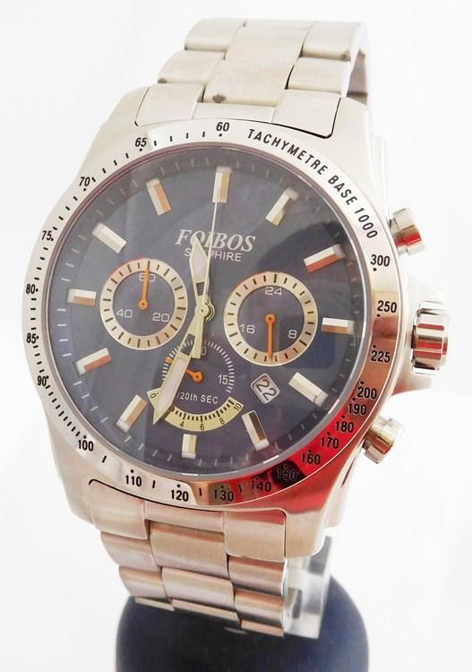 Mohutné pánské ocelové vodotěsné hodinky - chronograf Foibos 1300.1 10ATM,stopky (POŠTOVNÉ ZDARMA!! - vodotěsné 10ATM)