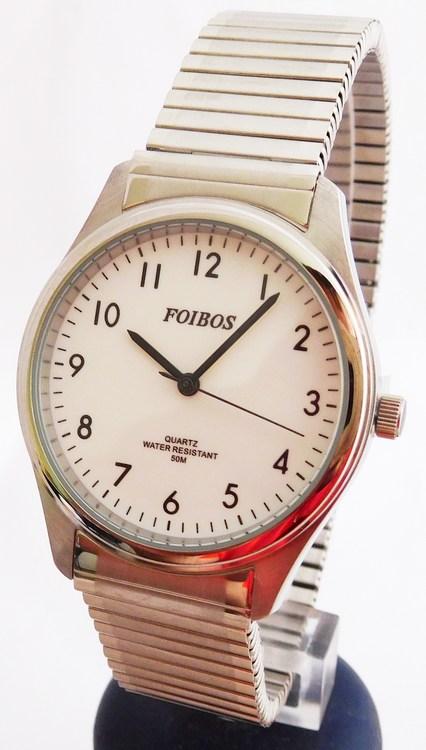 Pánské stříbrné ocelové hodinky Foibos 7285.2 s natahovacím páskem (natahovací pásek - libovolná velikost zápěstí)