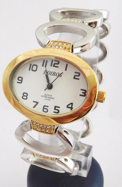 Dámské šperkové bicolor hodinky s kamínky na pásku Foibos 52421 (POŠTOVNÉ ZDARMA!! - bicolor