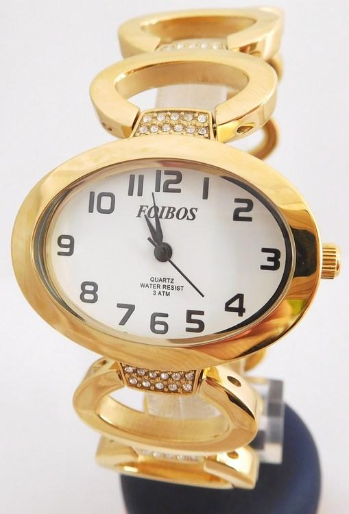 Dámské šperkové zlacené hodinky s kamínky na pásku Foibos 52423 (POŠTOVNÉ ZDARMA!! - zlacen