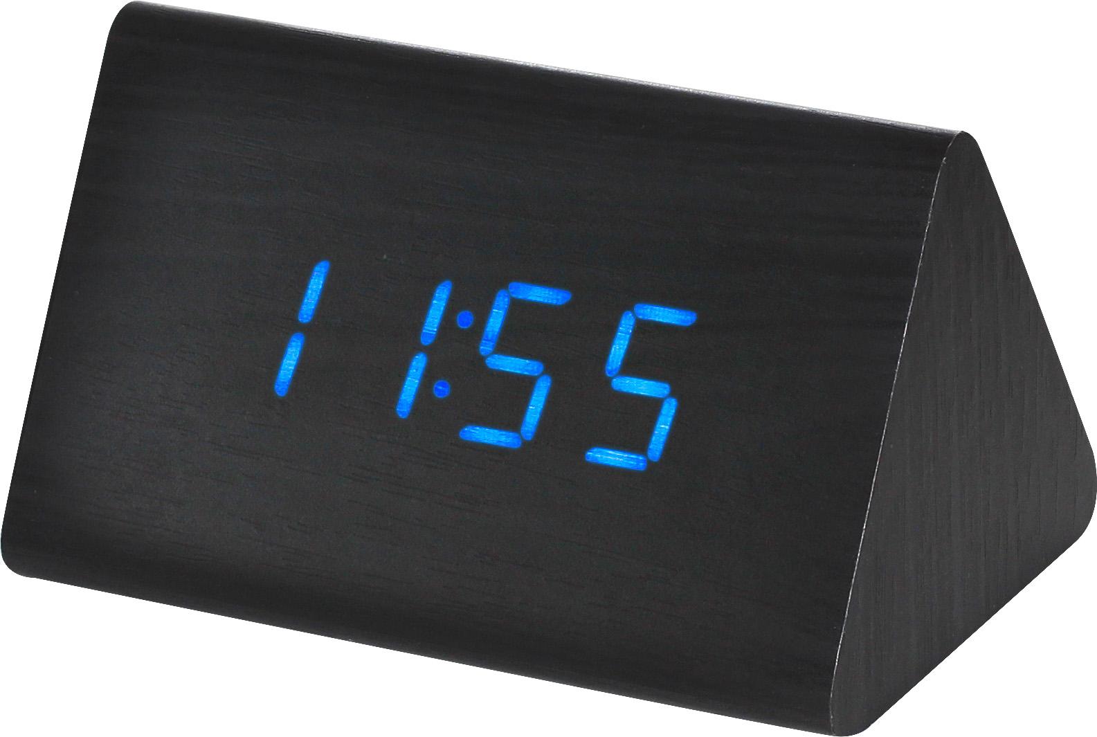 Digitální LED budík s datem a teploměrem MPM C02.3569 BLUE LED.90 - černá