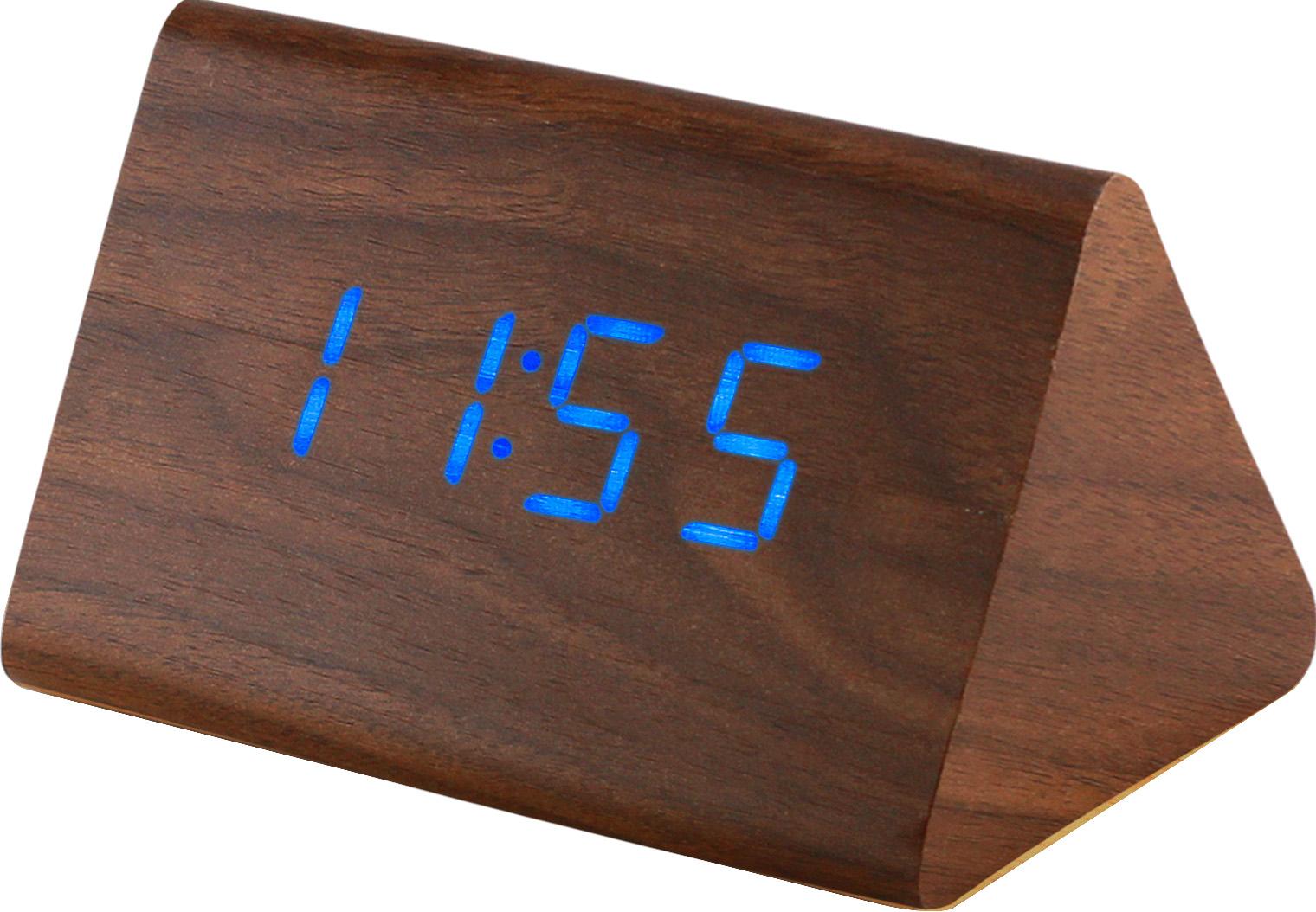 Digitální LED budík s datem a teploměrem MPM C02.3569 BLUE LED.50 - hnědá