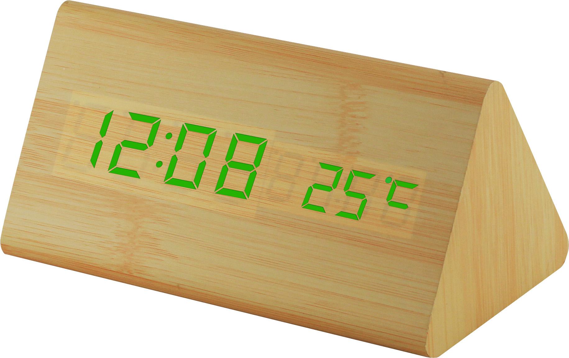 Digitální LED budík s datem a teploměrem zelené LED C02.3570 GREEN.51