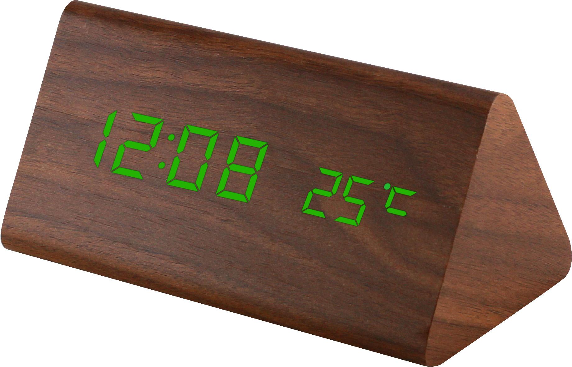 Digitální LED budík s datem a teploměrem zelené LED C02.3570 GREEN.50