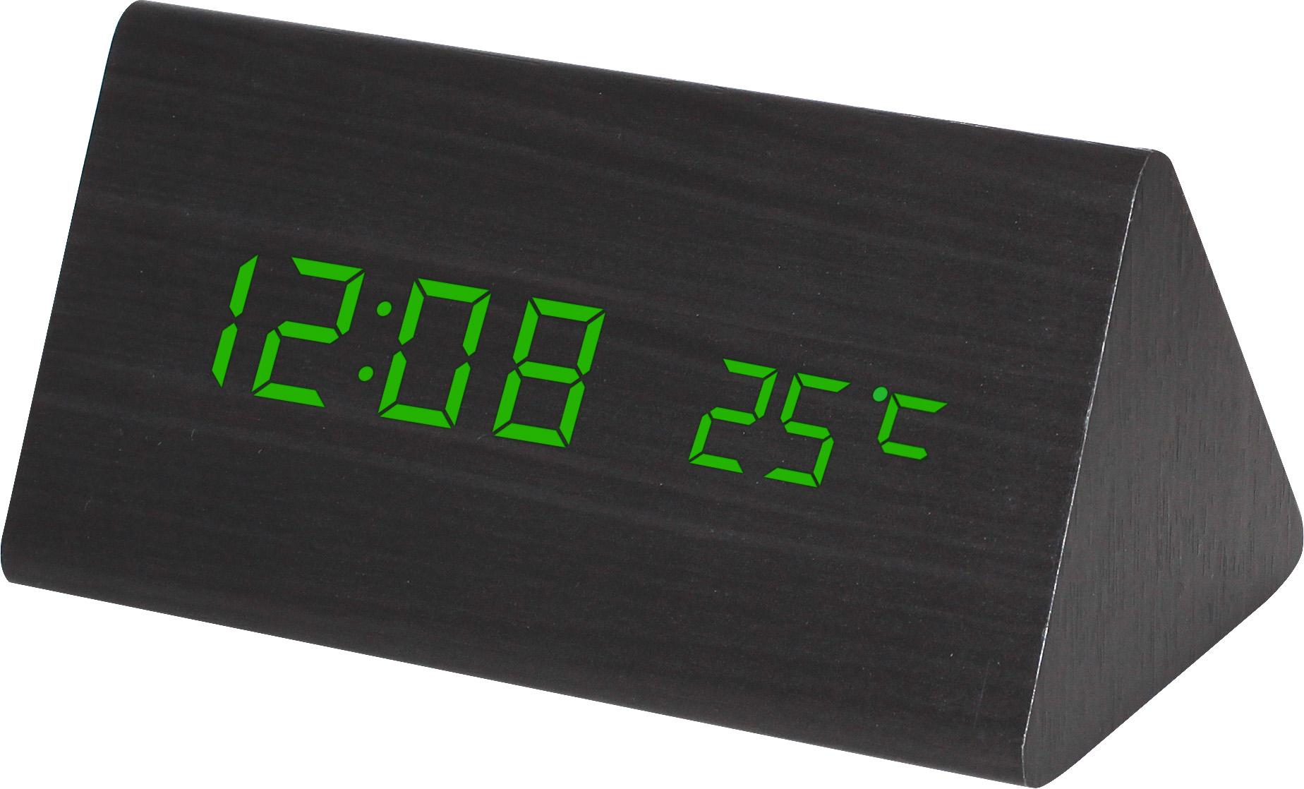 Digitální LED budík s datem a teploměrem zelené LED C02.3570 GREEN.90