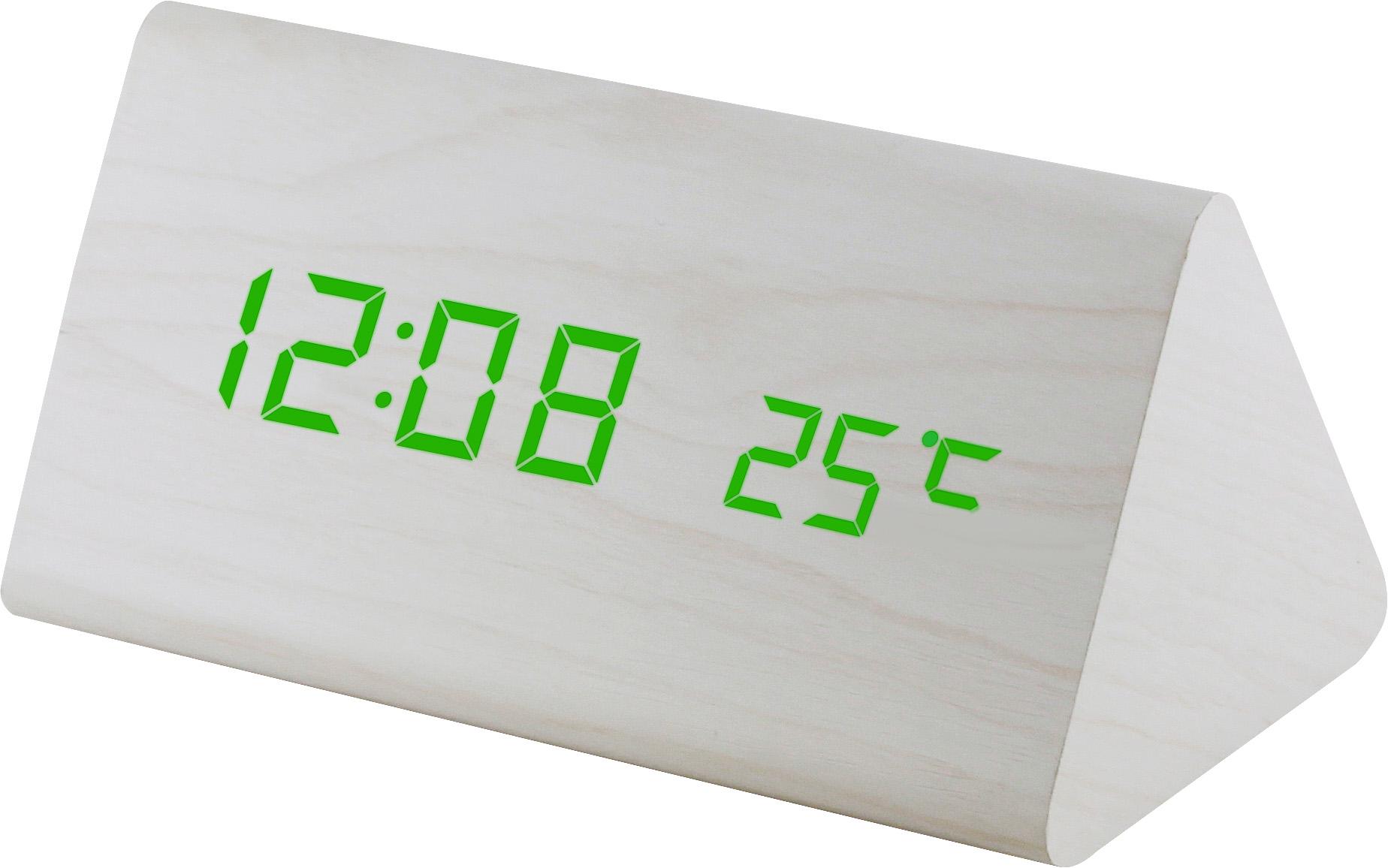 Digitální LED budík s datem a teploměrem zelené LED C02.3570 GREEN.00