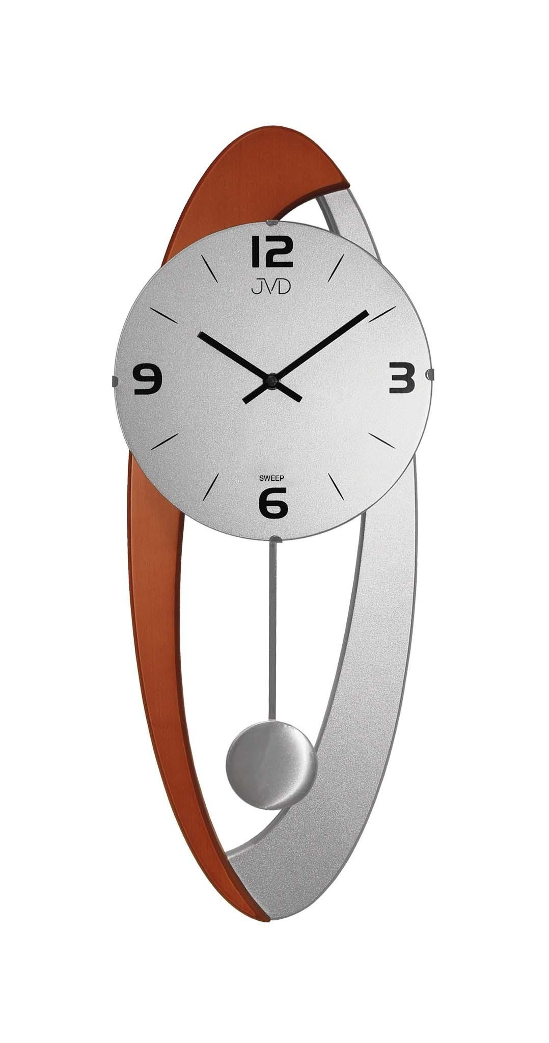 Dřevěné skleněné designové kyvadlové netikající nástěnné hodiny JVD NS15021/41 (POŠTOVNÉ ZDARMA!!)