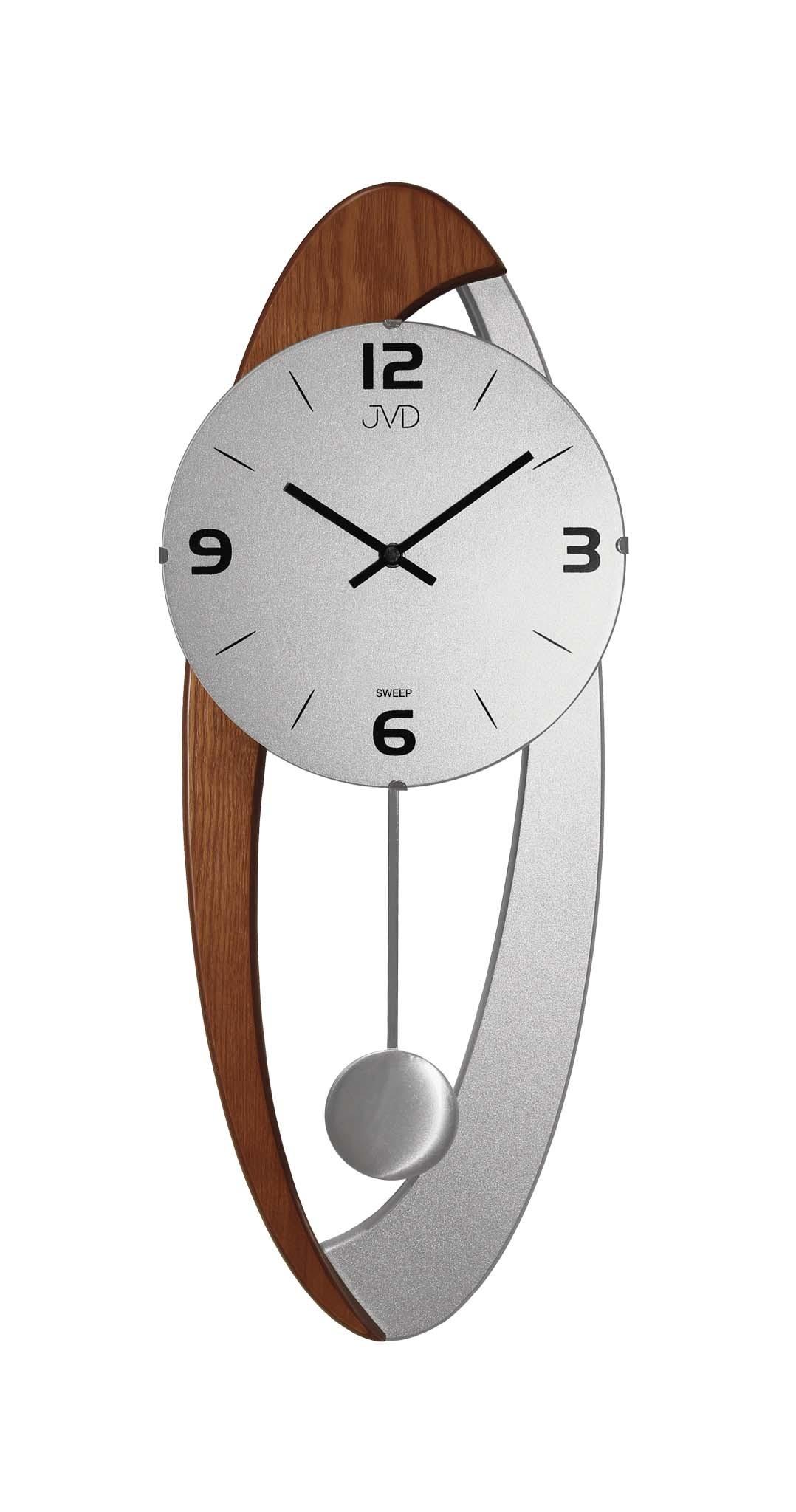 Dřevěné skleněné designové kyvadlové netikající nástěnné hodiny JVD NS15021/11 (POŠTOVNÉ ZDARMA!!)