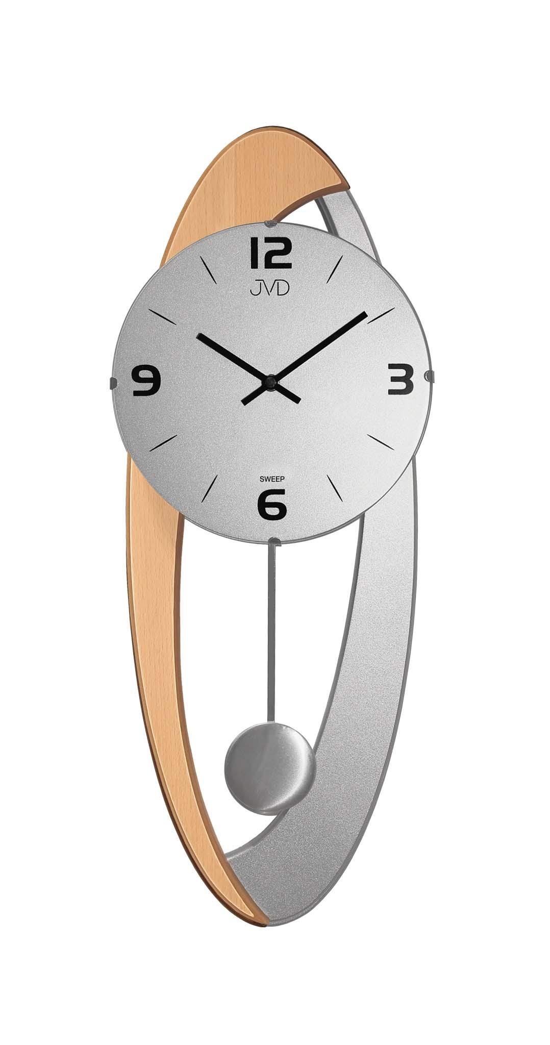 Dřevěné skleněné designové kyvadlové netikající nástěnné hodiny JVD NS15021/68 (POŠTOVNÉ ZDARMA!!)