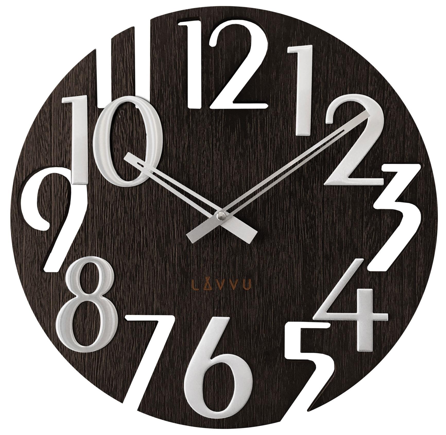 Stylové dřevěné moderní hodiny LAVVU STYLE Black Wood LCT1010 (POŠTOVNÉ ZDARMA!!)