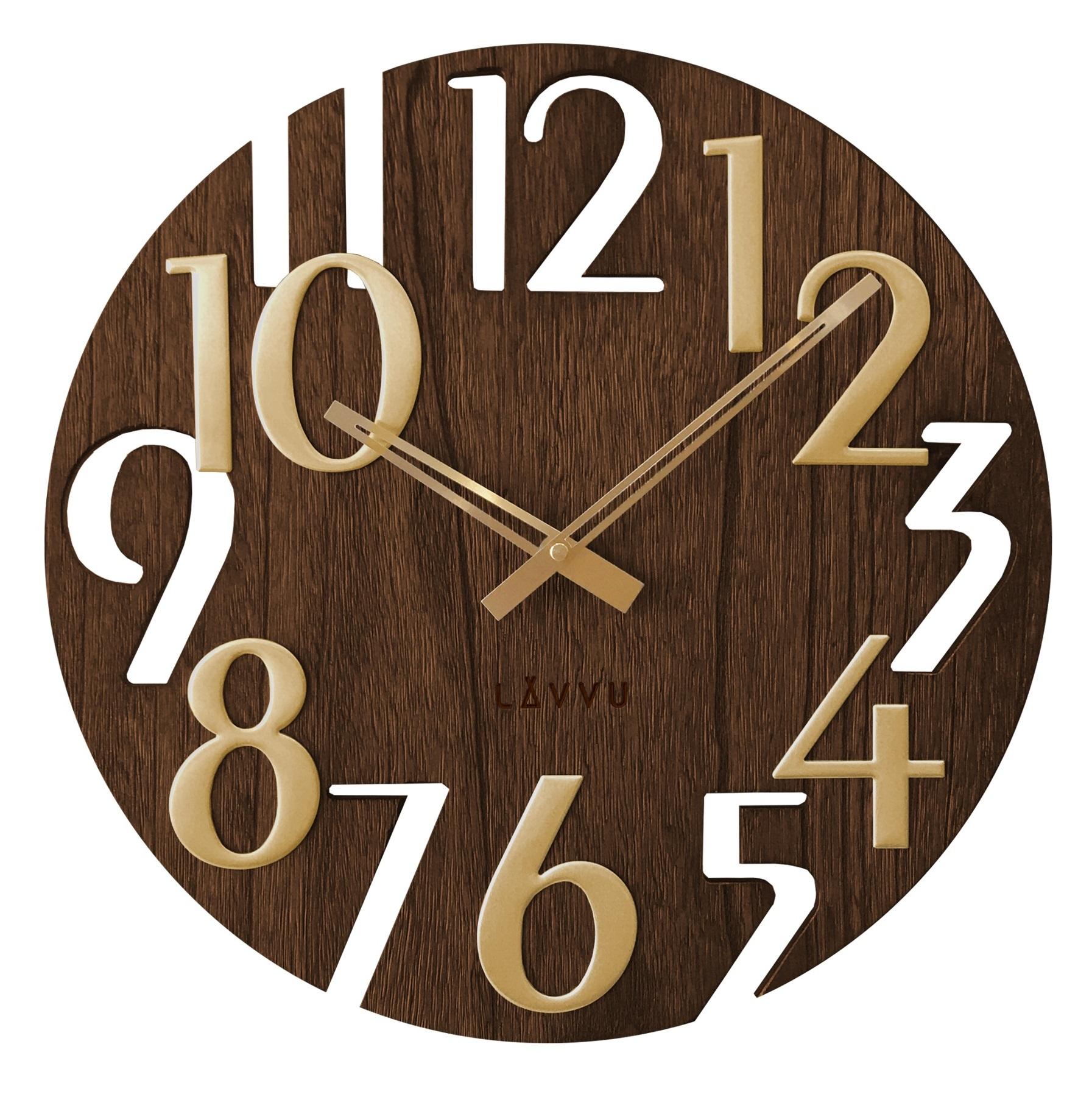 Stylové dřevěné moderní hodiny LAVVU STYLE Brown Wood LCT1011 (POŠTOVNÉ ZDARMA!! - hnědé)
