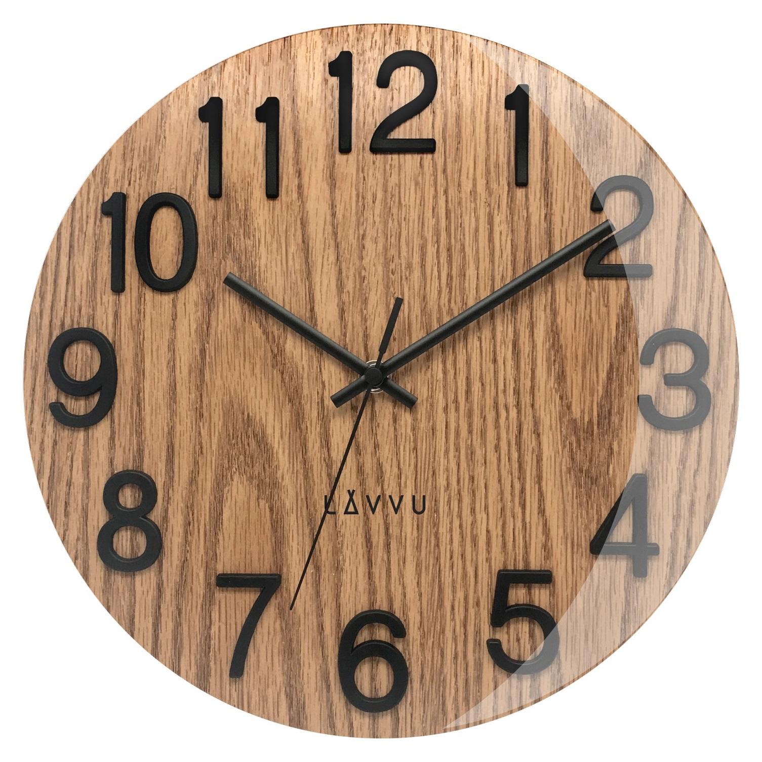 Stylové dřevěné hodiny s vypouklým sklem LAVVU NORD Black Oak LCT1060