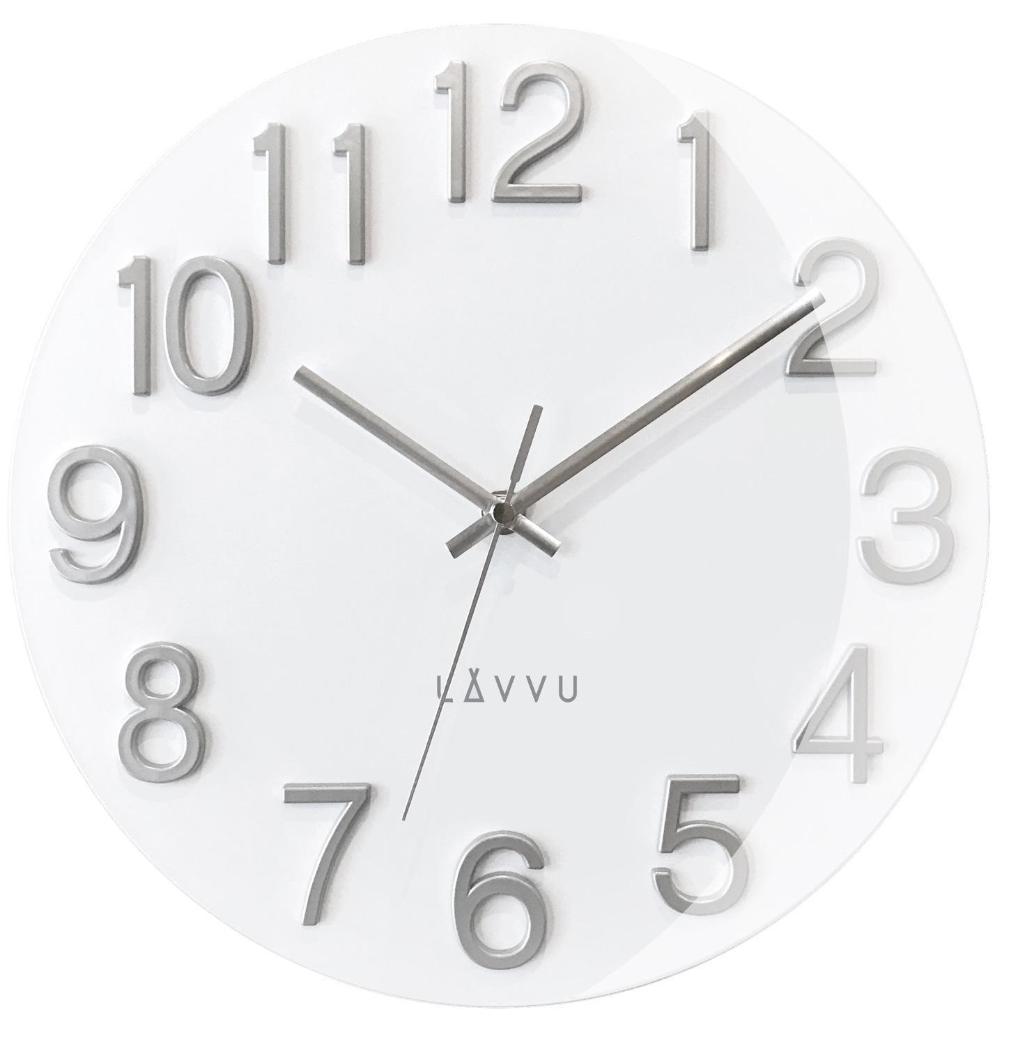 Stylové bílé hodiny s vypouklým sklem LAVVU NORD White LCT1061