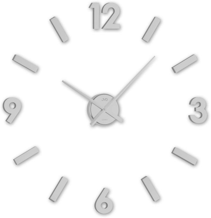 Stříbrné designové nástěnné nalepovací hodiny JVD HC20.1