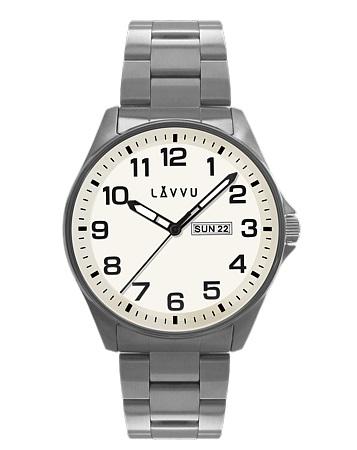 0b85fcc2b9a Vodotěsné ocelové pánské hodinky LAVVU BERGEN White LWM0010