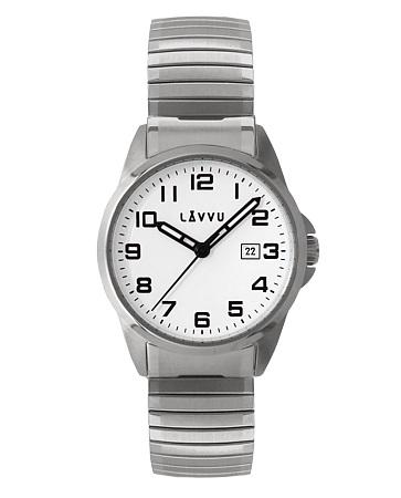 Pružné přehledné hodinky LAVVU STOCKHOLM Big White LWM0020 s natahovacím páskem (POŠTOVNÉ ZDARMA!!)
