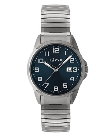 Pružné přehledné hodinky LAVVU STOCKHOLM Big Blue LWM0021 s natahovacím páskem (POŠTOVNÉ ZDARMA!!)