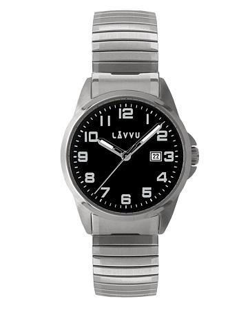 Pružné přehledné hodinky LAVVU STOCKHOLM Big Black LWM0022 s natahovacím páskem (POŠTOVNÉ ZDARMA!!)