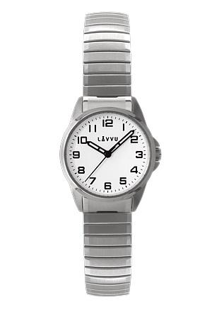 Pružné přehledné dámské hodinky LAVVU STOCKHOLM Small White LWL5010 (POŠTOVNÉ ZDARMA!! - natahovací pérový pásek)