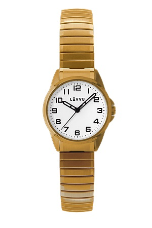 Pružné přehledné dámské hodinky LAVVU STOCKHOLM Small Gold LWL5012 (POŠTOVNÉ ZDARMA!! - natahovací pérový pásek)