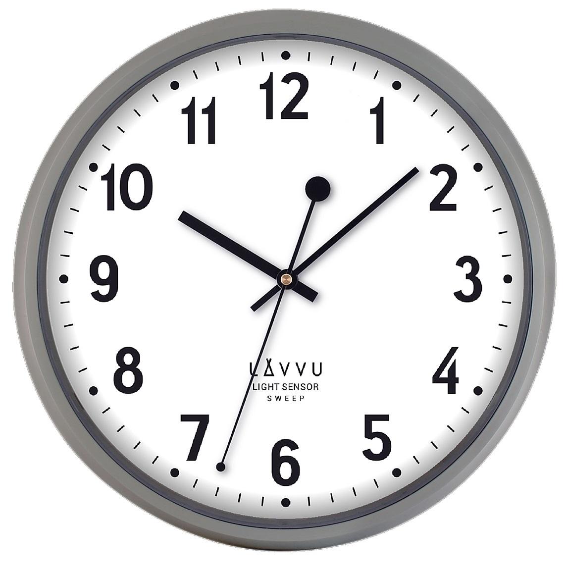 Tiché svítící šedé metalické hodiny LAVVU LIGHT SENSOR Metallic Grey LCS2011 (se senzorem podsvícení)