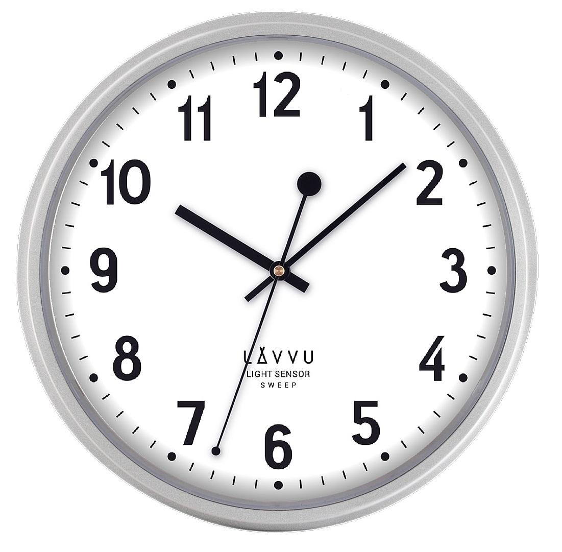 Tiché svítící stříbrné hodiny LAVVU LIGHT SENSOR Metallic Silver LCS2010 (se senzorem podsvícení)