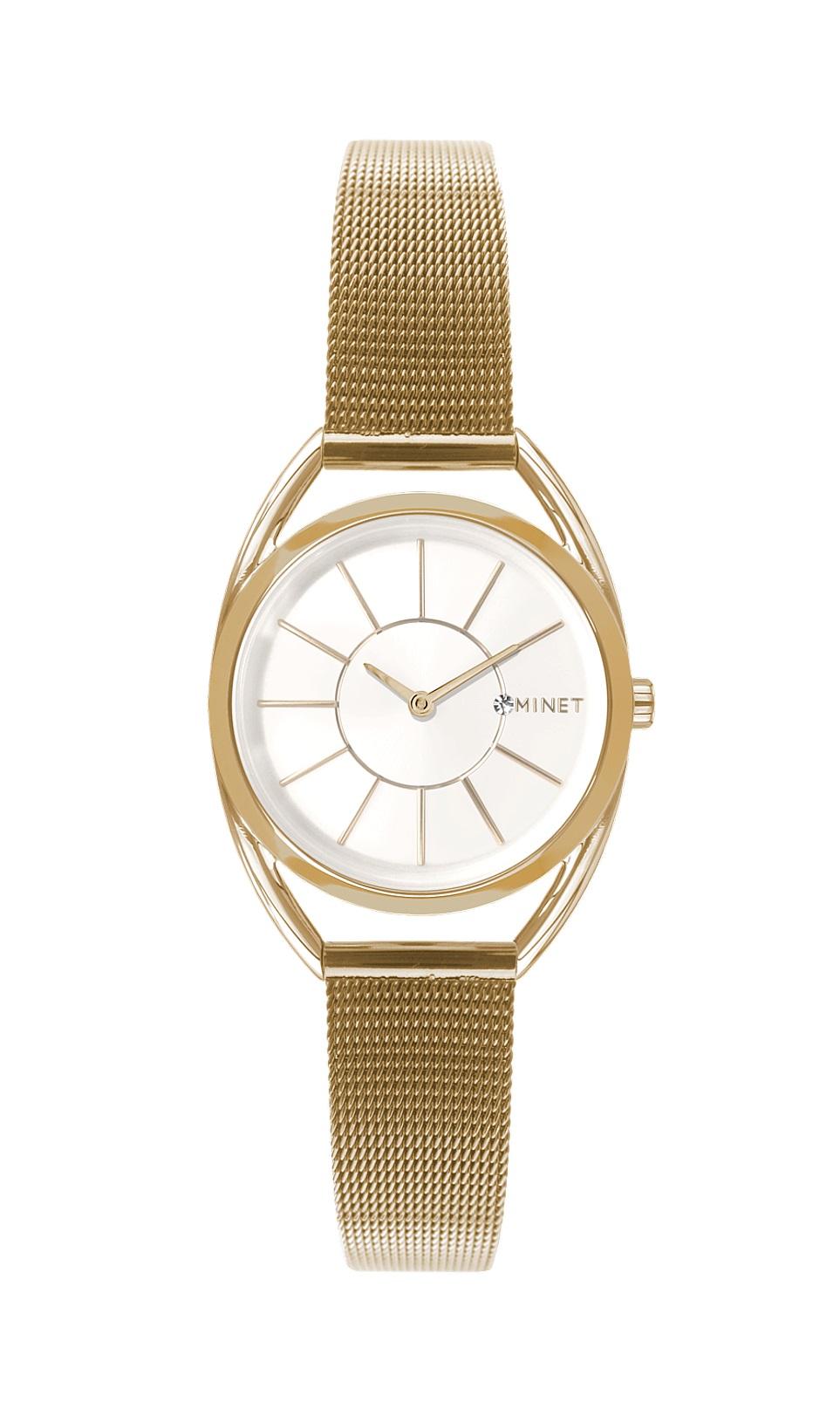 Zlaté dámské hodinky MINET ICON GOLDEN WHITE MESH MWL5011 (POŠTOVNÉ ZDARMA!! )