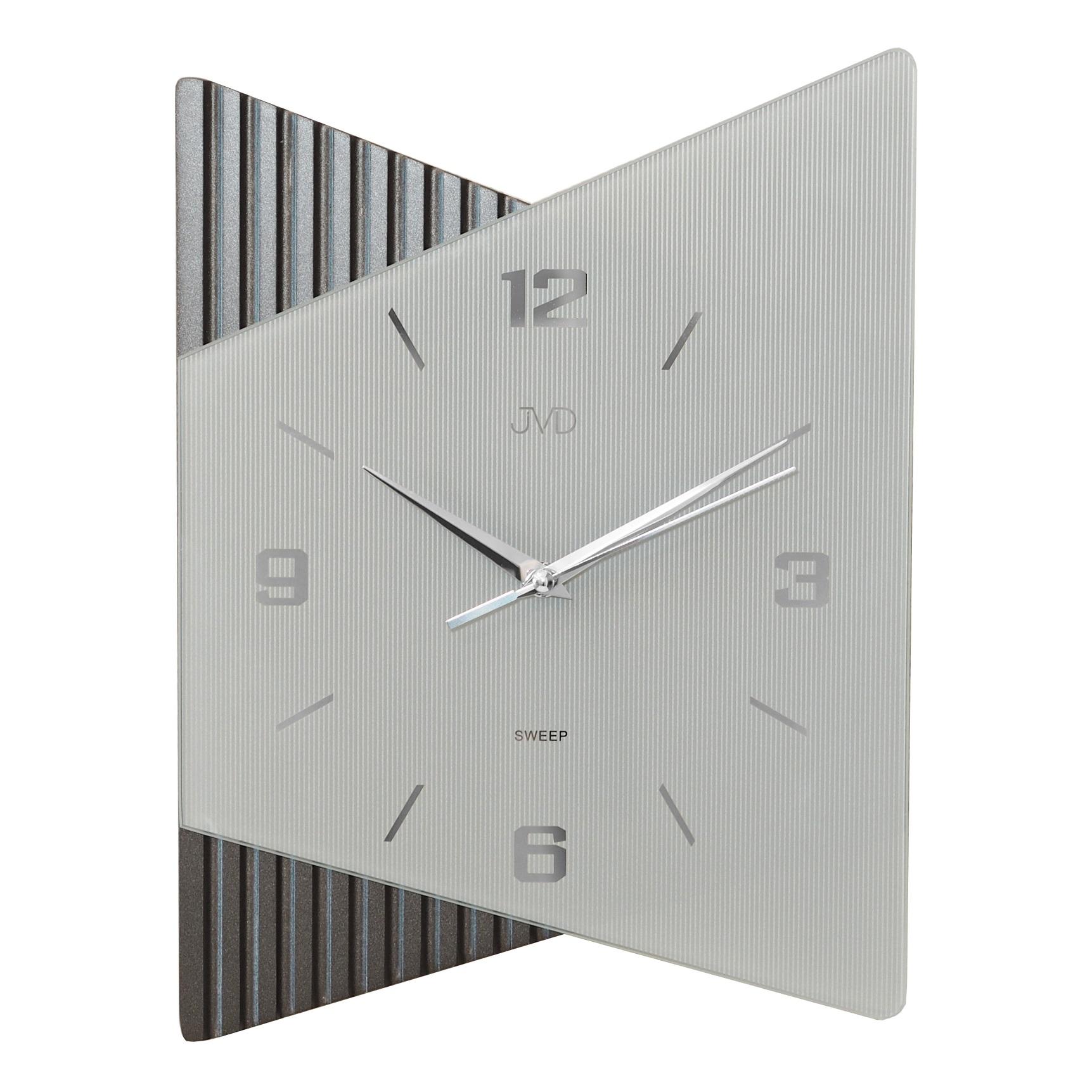 Moderní luxusní netikající skleněné hodiny JVD NS13011.1 s tichým chodem