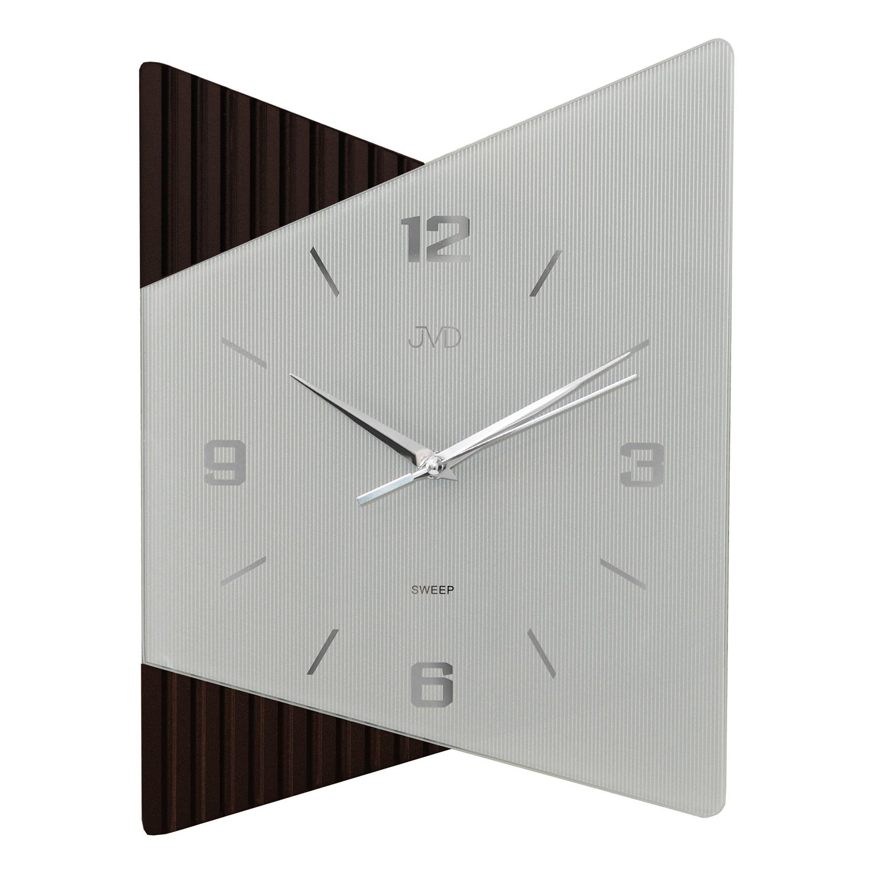 Moderní luxusní netikající skleněné hodiny JVD NS13011.2 s tichým chodem