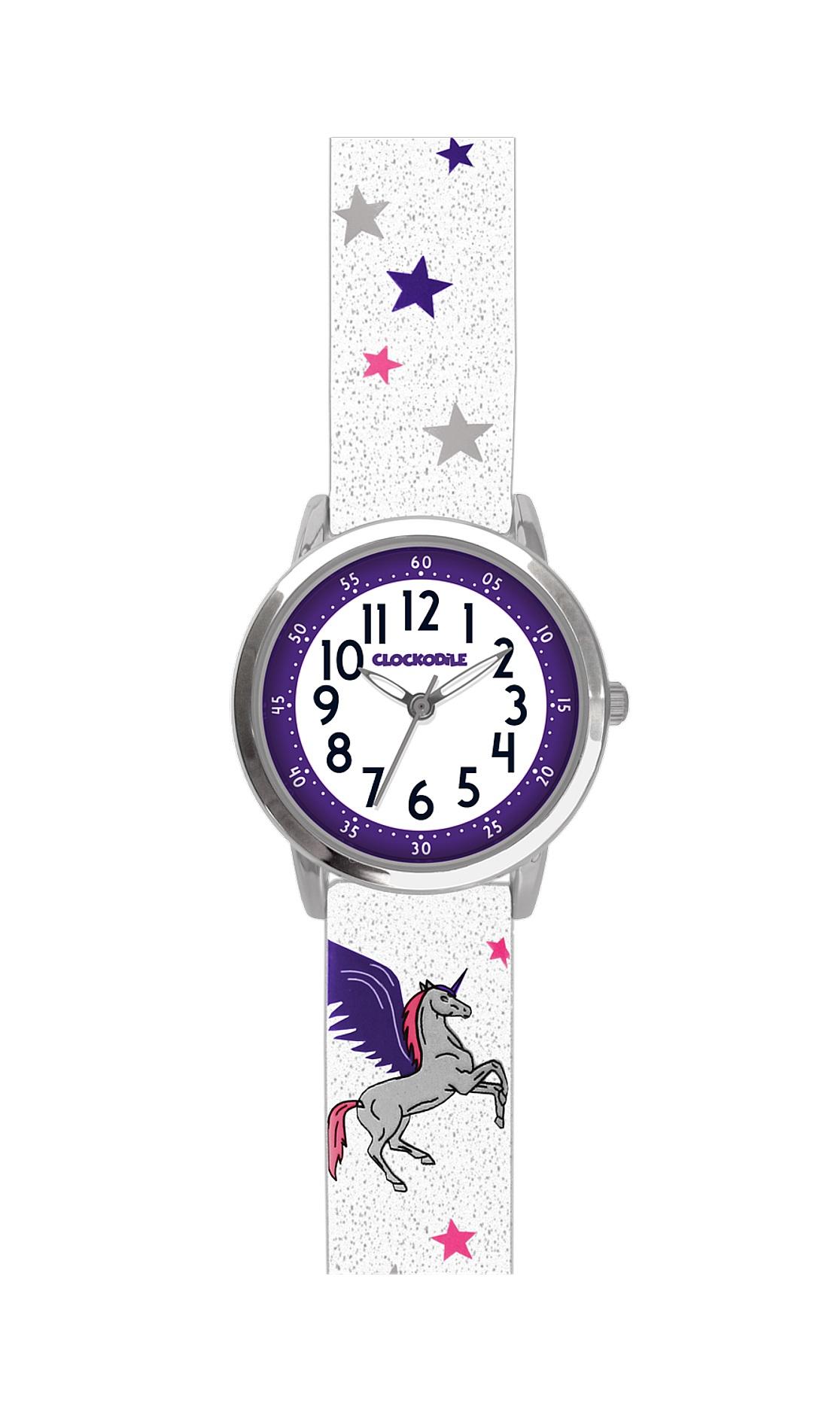 Třpytivé dívčí hodinky se stříbrným jednorožcem CLOCKODILE UNICORNS CWG5032 (CWG5032)