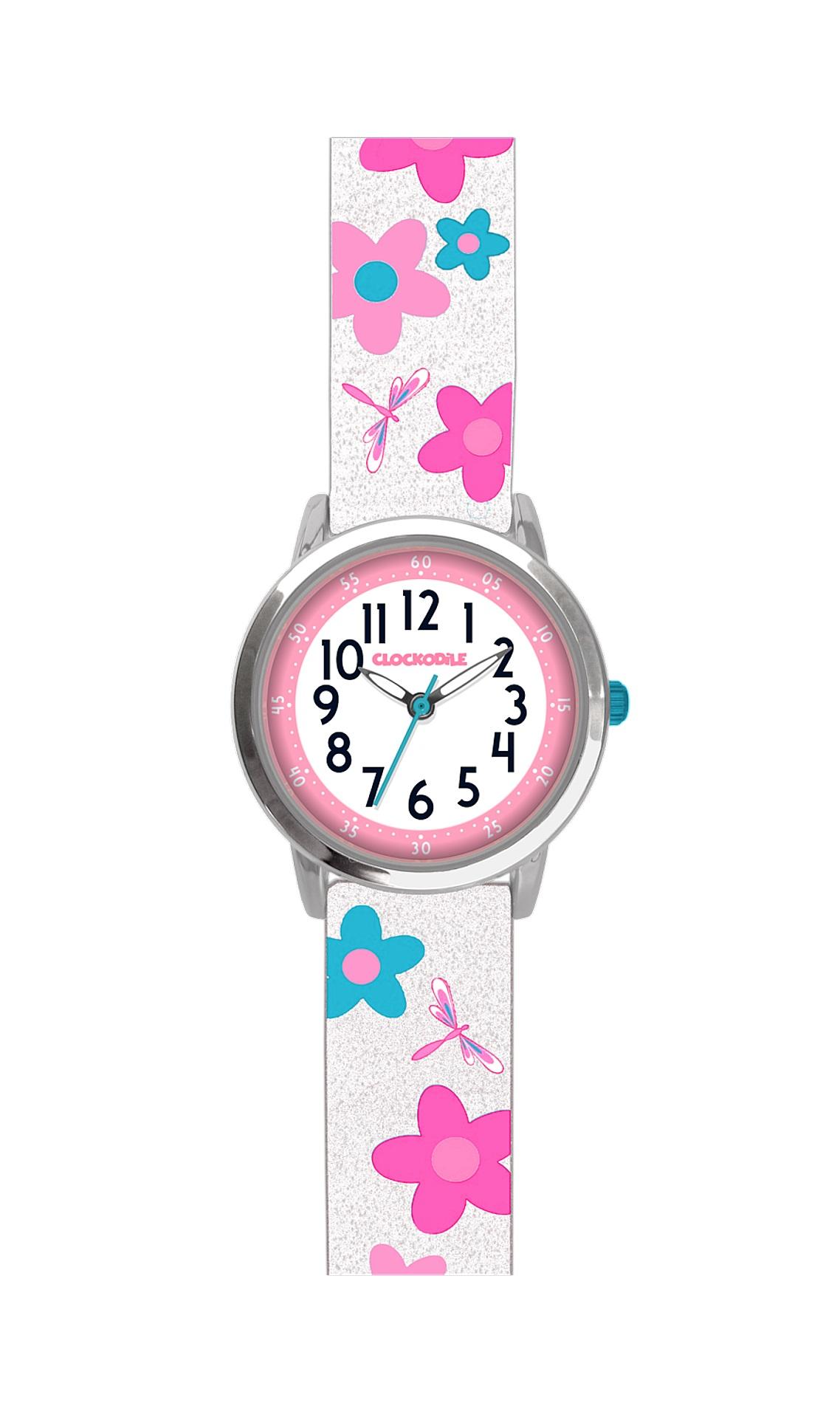 Květované bílé dívčí hodinky CLOCKODILE FLOWERS se třpytkami CWG5022 (CWG5022)