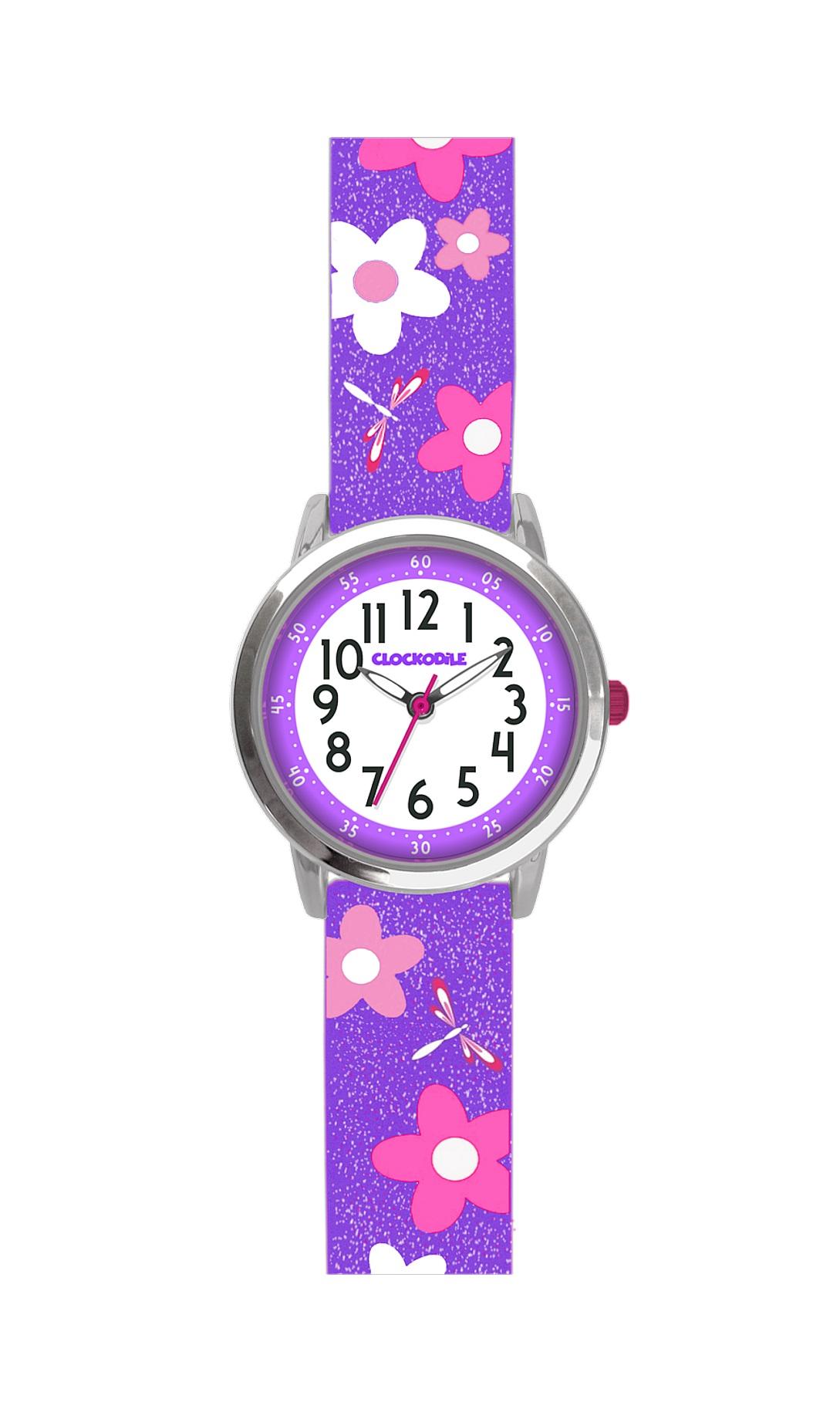 Květované fialové dívčí hodinky CLOCKODILE FLOWERS se třpytkami CWG5021 (CWG5021)