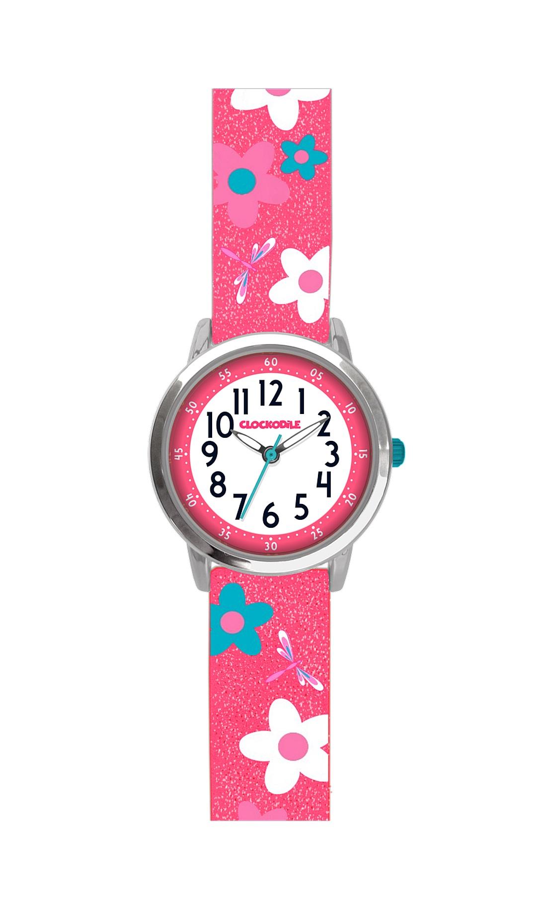 Květované růžové dívčí hodinky CLOCKODILE FLOWERS se třpytkami CWG5020 (CWG5020)