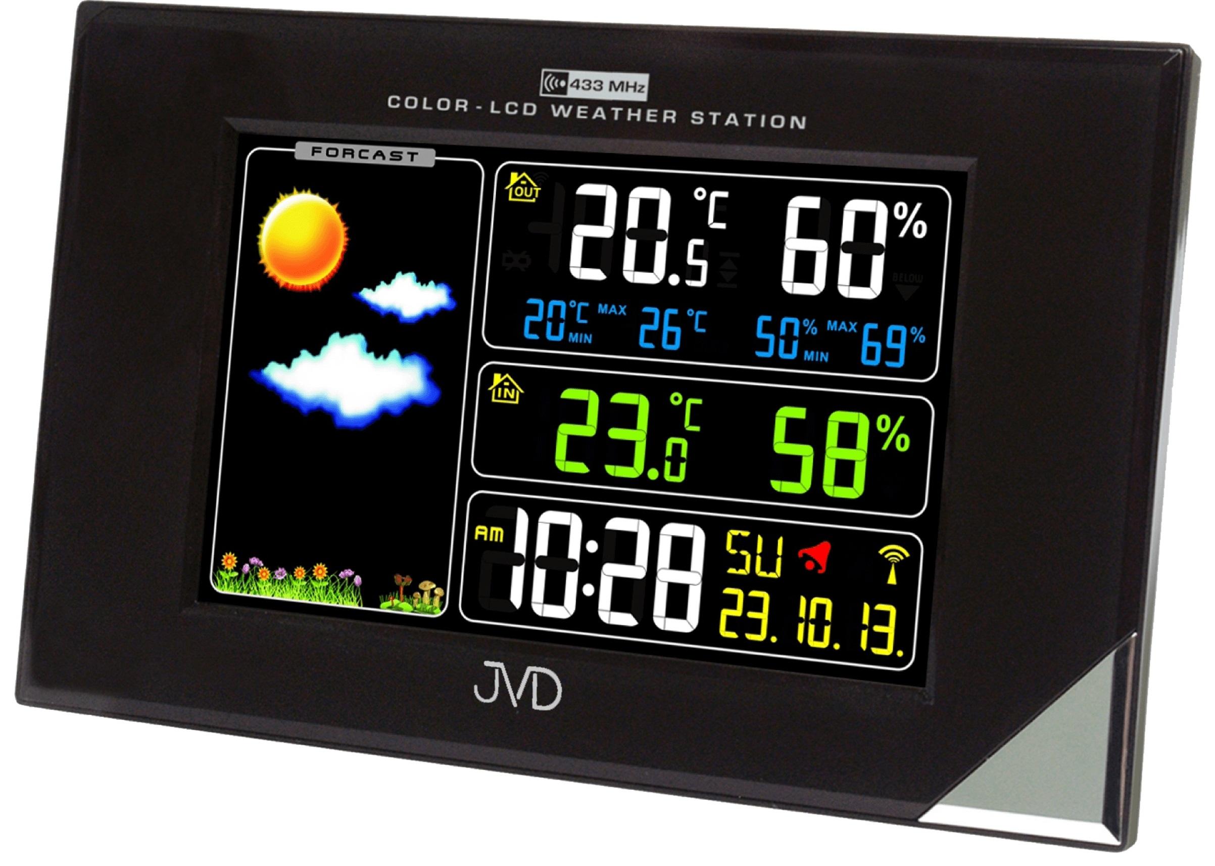 Barevná rádiem řízená meteorologická stanice JVD černá RB9197.1 (POŠTOVNÉ ZDARMA!! - LCD displej)