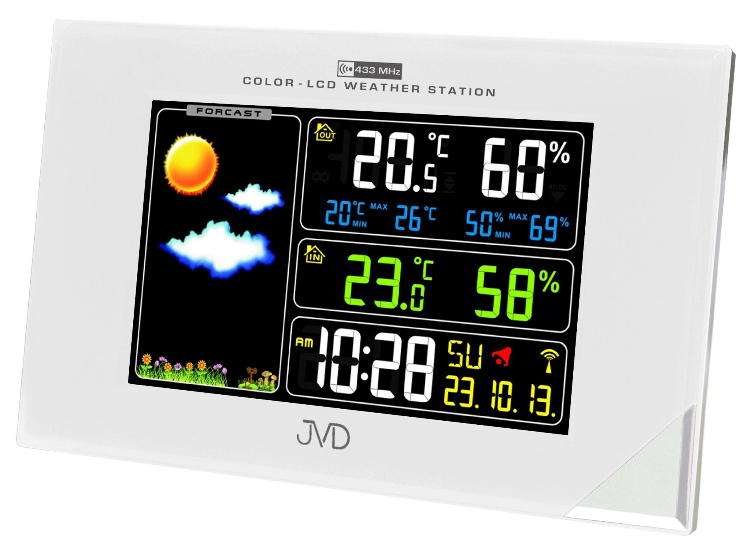 Barevná rádiem řízená meteorologická stanice JVD bílá RB9197.2 (POŠTOVNÉ ZDARMA!! - LCD displej)