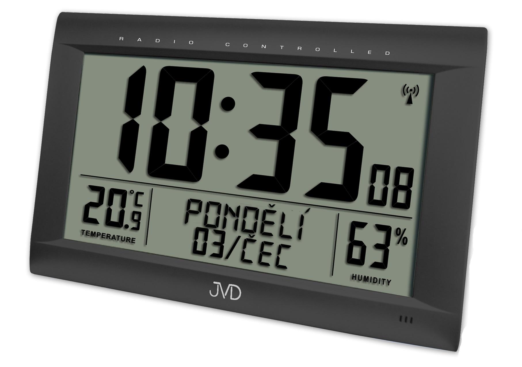 Obrovské rádiem řízené digitální hodiny s budíkem JVD černé RB9075.1 (POŠTOVNÉ ZDARMA!! s češtinou!!)