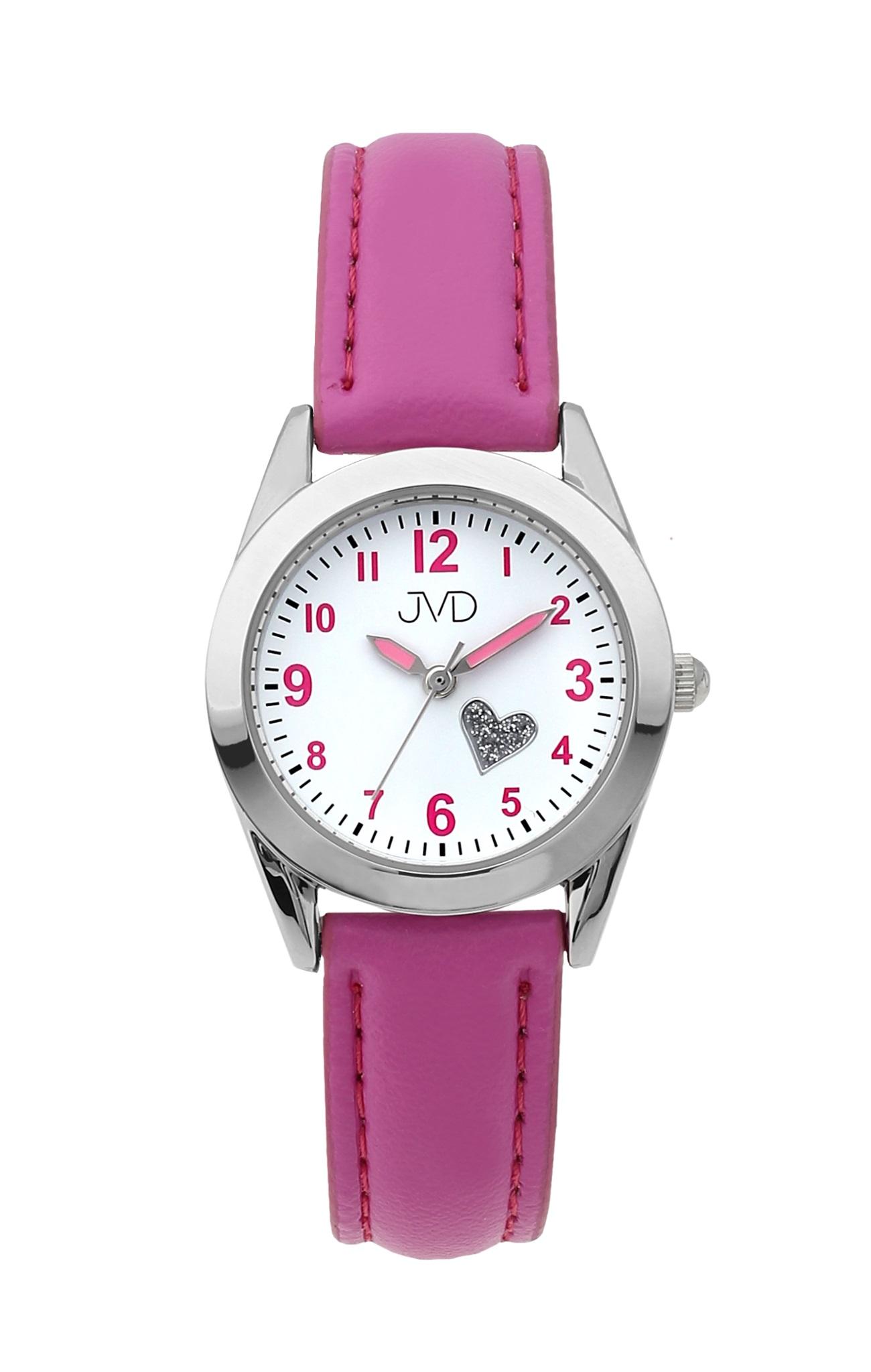 Dětské dívčí náramkové čitelné hodinky JVD J7178.1 se srdíčkem (růžové dívčí hodinky)