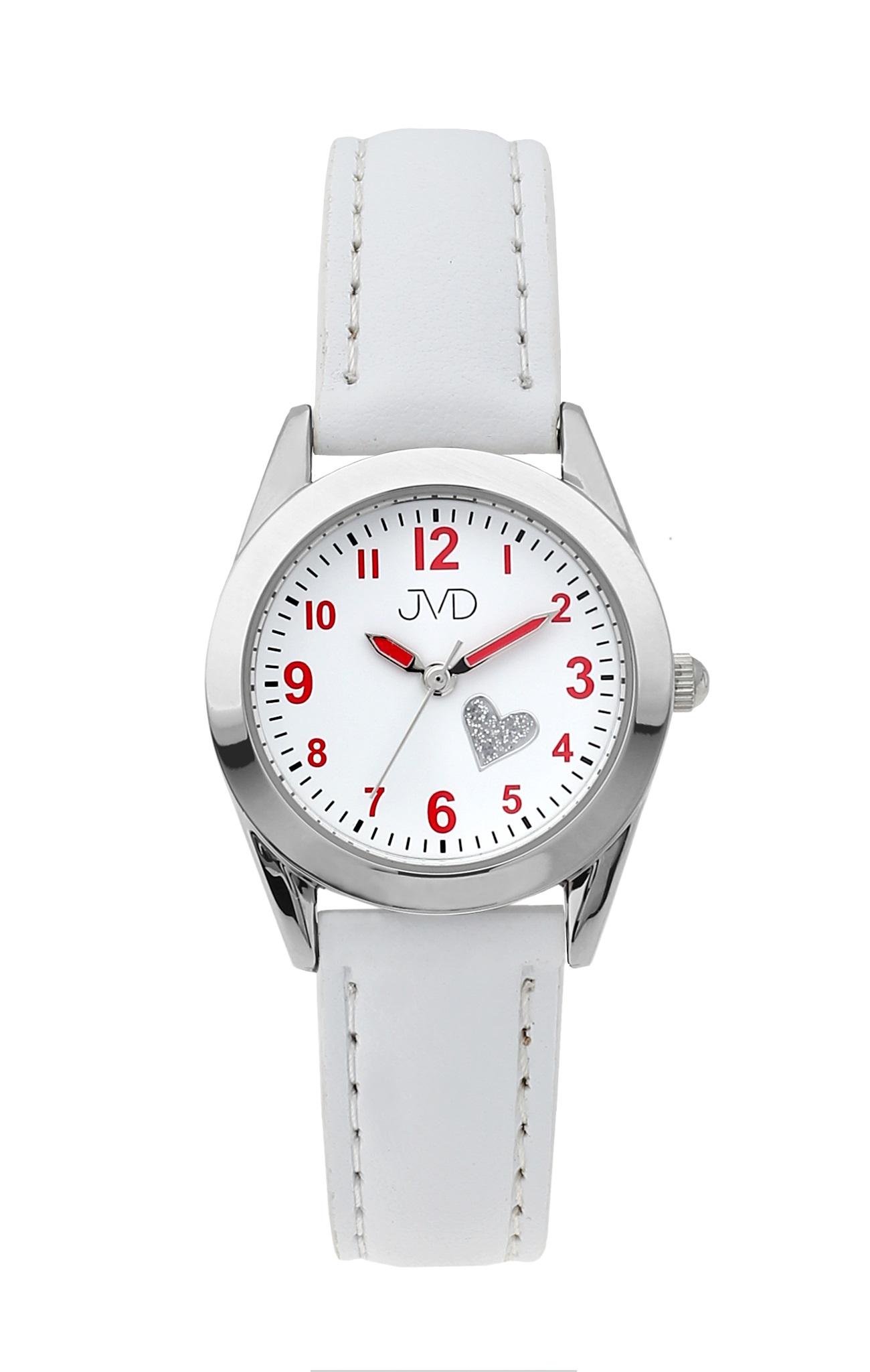 Dětské dívčí náramkové čitelné hodinky JVD J7178.2 se srdíčkem (bílé dívčí hodinky)