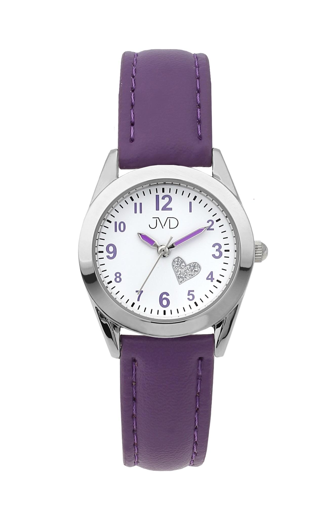 Dětské dívčí náramkové čitelné hodinky JVD J7178.3 se srdíčkem (fialkové dívčí hodinky)