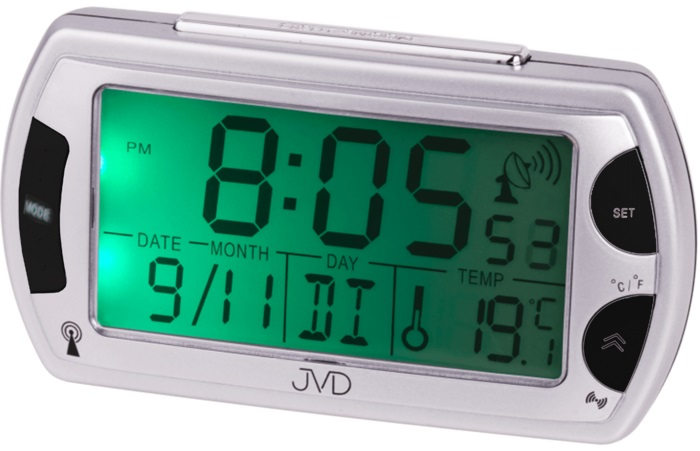 Rádiem řízený digitální budík JVD RB358 s teploměrem a podsvícením ( )