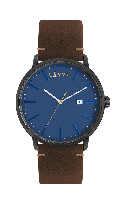 Modro-hnědé pánské hodinky LAVVU COPENHAGEN EAST SIDE s koženým páskem LWM0034 (POŠTOVNÉ ZDARMA!!! LWM0034)