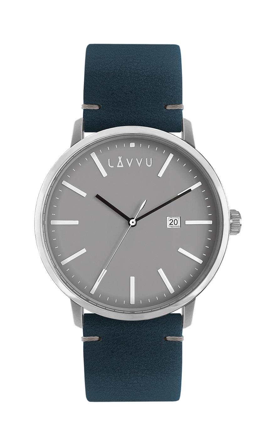 Šedo-modré pánské hodinky LAVVU COPENHAGEN NIGHTS s koženým páskem LWM0032 fb39a01a41