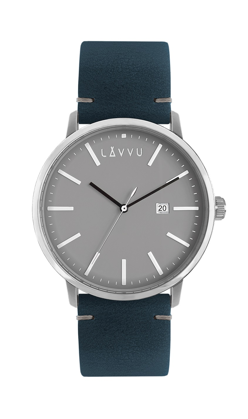 Šedo-modré pánské hodinky LAVVU COPENHAGEN NIGHTS s koženým páskem LWM0032 (POŠTOVNÉ ZDARMA!!! LWM0032)