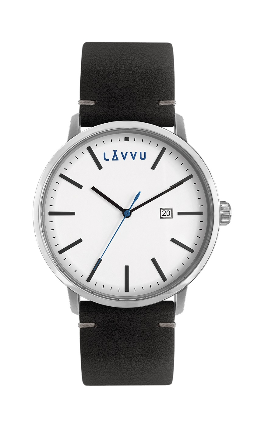 Černé pánské hodinky LAVVU COPENHAGEN CITY s koženým páskem LWM0031 (POŠTOVNÉ ZDARMA!!! LWM0031)
